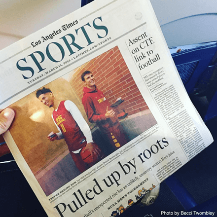 Sports page from Los Angeles Times