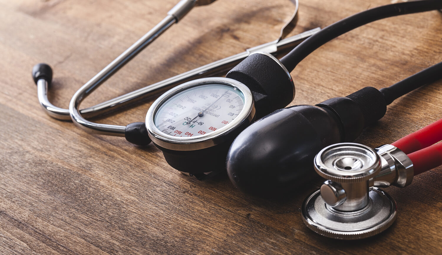Stethoscope on a wood table