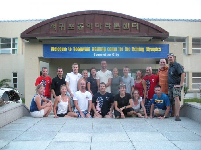 Team photo of triathlon team at training camp at Cheju Island